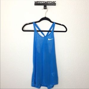 Nike Adrianna-Fit Blue Burnout Tank